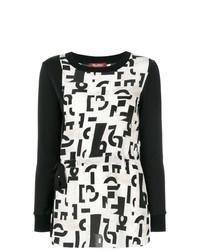Черно-белая блузка с длинным рукавом с принтом