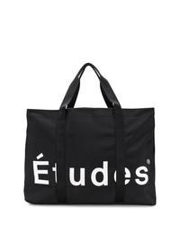Черно-белая большая сумка из плотной ткани с принтом