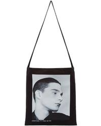Черно-белая большая сумка из плотной ткани