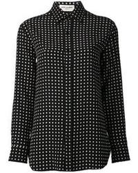 Черно-белая классическая рубашка в горошек