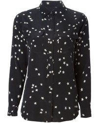 Черно-белая классическая рубашка со звездами