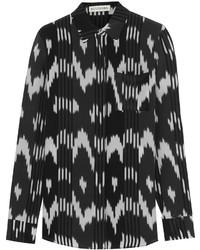 Черно-белая классическая рубашка с принтом