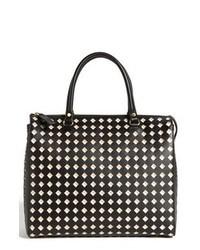 Черно-белая кожаная большая сумка с геометрическим рисунком
