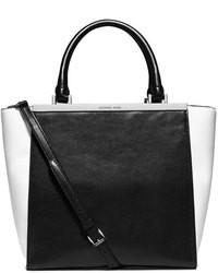 Черно-белая кожаная большая сумка