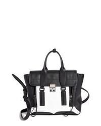 Черно-белая кожаная сумка-саквояж