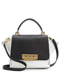 Женская черно-белая кожаная сумка-саквояж