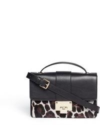 Черно-белая кожаная сумка через плечо с леопардовым принтом