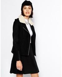 Женская черно-белая короткая дубленка от Eleven Paris