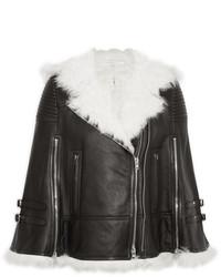 Женская черно-белая короткая дубленка от Givenchy