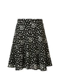 Черно-белая короткая юбка-солнце со звездами от Saint Laurent