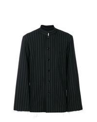 Черно-белая рубашка с длинным рукавом в вертикальную полоску