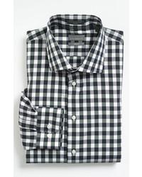 Черно-белая рубашка с длинным рукавом в мелкую клетку