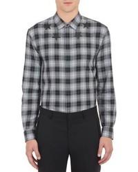 Черно-белая рубашка с длинным рукавом в шотландскую клетку