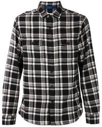 Мужская черно-белая рубашка с длинным рукавом в шотландскую клетку