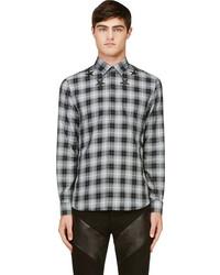 Мужская черно-белая рубашка с длинным рукавом в шотландскую клетку от Givenchy