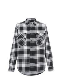 b5b5ee88f49 Мужская черно-белая рубашка с длинным рукавом в шотландскую клетку от  Off-White