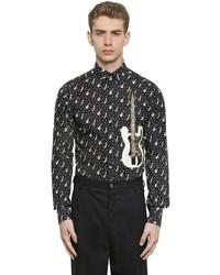 Черно-белая рубашка с длинным рукавом с принтом