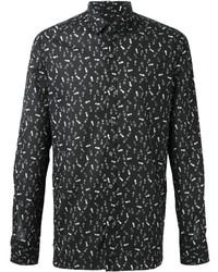 Мужская черно-белая рубашка с длинным рукавом с принтом от Lanvin