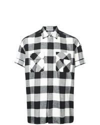 Черно-белая рубашка с коротким рукавом в клетку