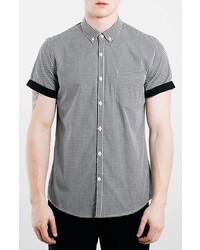 Черно-белая рубашка с коротким рукавом в мелкую клетку