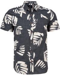 Черно-белая рубашка с коротким рукавом с принтом