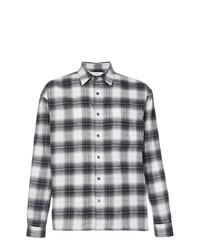 Черно-белая фланелевая рубашка с длинным рукавом в шотландскую клетку
