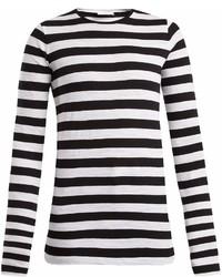 Черно-белая футболка с длинным рукавом в горизонтальную полоску