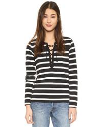 Женская черно-белая футболка с длинным рукавом в горизонтальную полоску