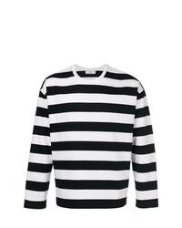 Мужская черно-белая футболка с длинным рукавом в горизонтальную полоску от AMI Alexandre Mattiussi