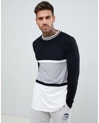 Мужская черно-белая футболка с длинным рукавом в горизонтальную полоску от ASOS DESIGN