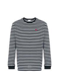 Мужская черно-белая футболка с длинным рукавом в горизонтальную полоску от Carhartt Heritage