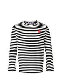 Мужская черно-белая футболка с длинным рукавом в горизонтальную полоску от Comme Des Garcons Play