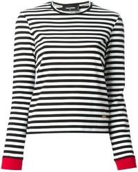Женская черно-белая футболка с длинным рукавом в горизонтальную полоску от Dsquared2