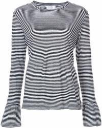 Женская черно-белая футболка с длинным рукавом в горизонтальную полоску от Frame