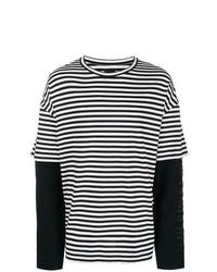 Мужская черно-белая футболка с длинным рукавом в горизонтальную полоску от Juun.J