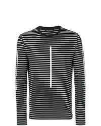 Мужская черно-белая футболка с длинным рукавом в горизонтальную полоску от Neil Barrett