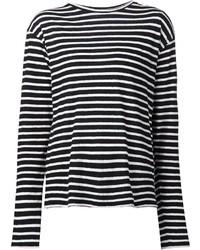 Женская черно-белая футболка с длинным рукавом в горизонтальную полоску от R 13