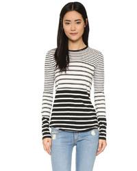 Женская черно-белая футболка с длинным рукавом в горизонтальную полоску от Vince