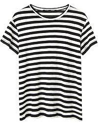 Черно-белая футболка с круглым вырезом в горизонтальную полоску