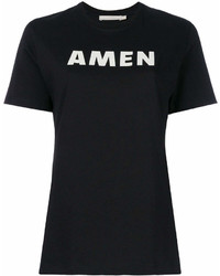 Женская черно-белая футболка с круглым вырезом с принтом от Amen