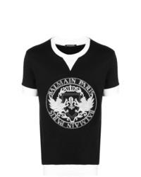 Мужская черно-белая футболка с круглым вырезом с принтом от Balmain