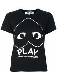 Женская черно-белая футболка с круглым вырезом с принтом от Comme des Garcons