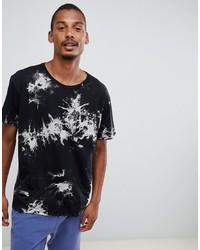 Мужская черно-белая футболка с круглым вырезом с принтом от Dr. Denim