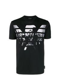 Мужская черно-белая футболка с круглым вырезом с принтом от Emporio Armani