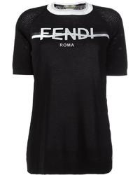 Женская черно-белая футболка с круглым вырезом с принтом от Fendi