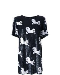 Женская черно-белая футболка с круглым вырезом с принтом от Macgraw