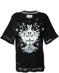 Женская черно-белая футболка с круглым вырезом с принтом от Maison Margiela