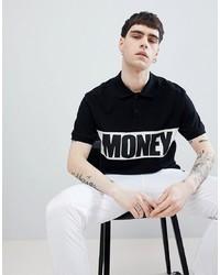 Мужская черно-белая футболка с круглым вырезом с принтом от Money