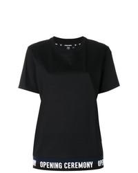 Женская черно-белая футболка с круглым вырезом с принтом от Opening Ceremony