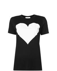 Женская черно-белая футболка с круглым вырезом с принтом от Prabal Gurung